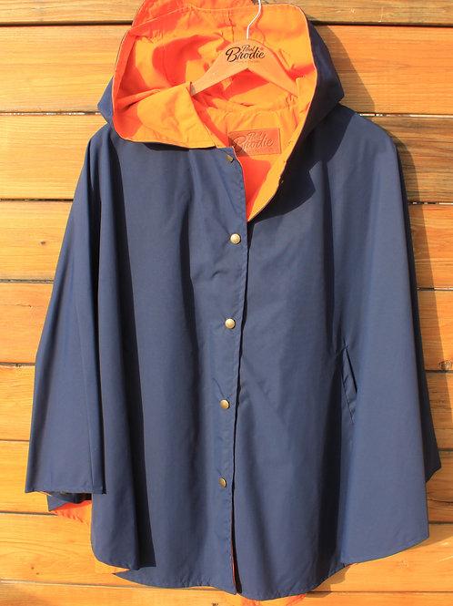 Nylon Snap Up Cape/Poncho - Navy with Orange