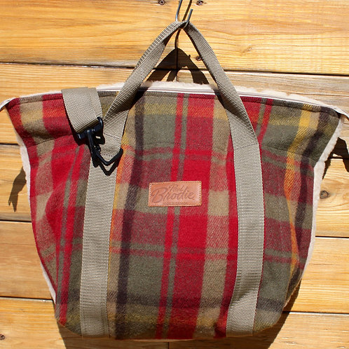 Maple Leaf Tartan Wool Mid Size Tote with Shearling Wool Back