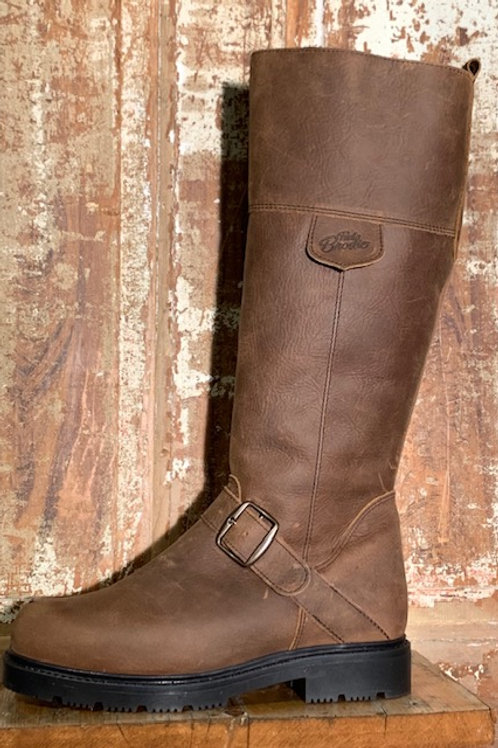 Tall Side Zip w Buckle - Old West Brown Leather