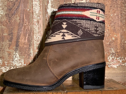The Montreal - Old West Brown Leather with  Spirit Native Wool Cuff