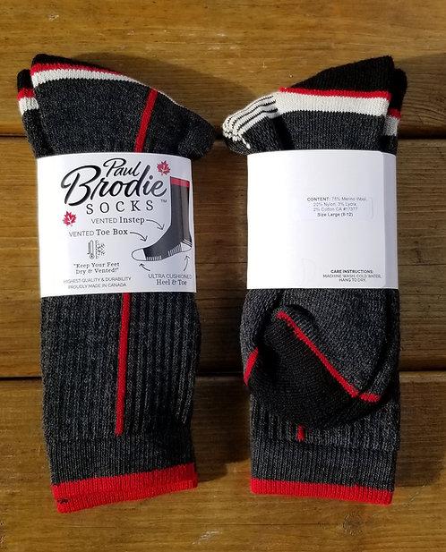 Brodie Merino Wool Socks - Black/Red - Crew Length - Size M or L