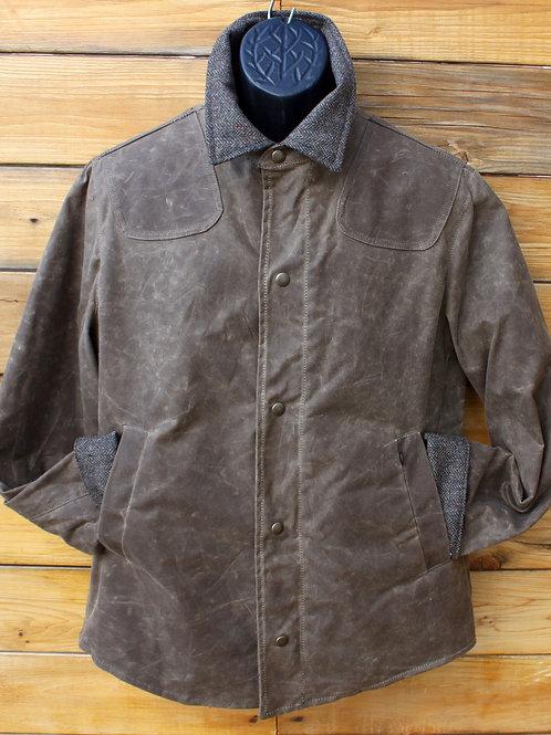 Scout Jacket - Dark Tan Wax with Tweed Collar & Cuffs