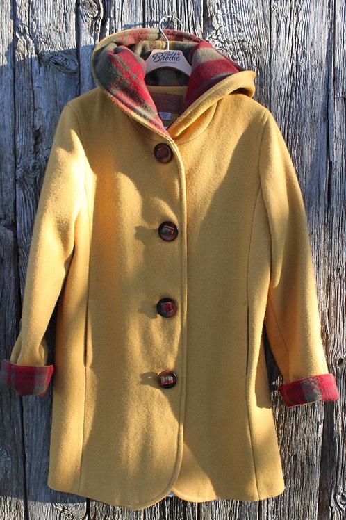 Wool Hooded Duffle Coat - Gold Wool with Maple Leaf Tartan Wool