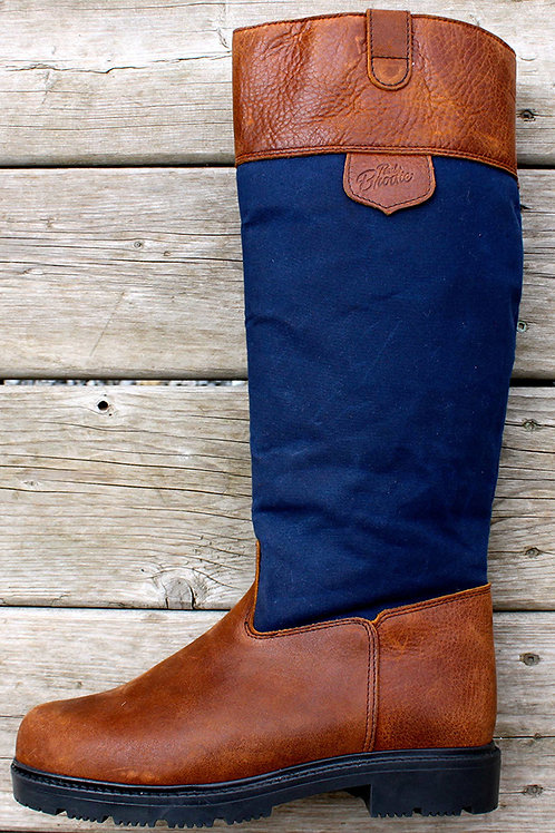 Tall Pull On - Navy Wax Boot with Brown Cuff