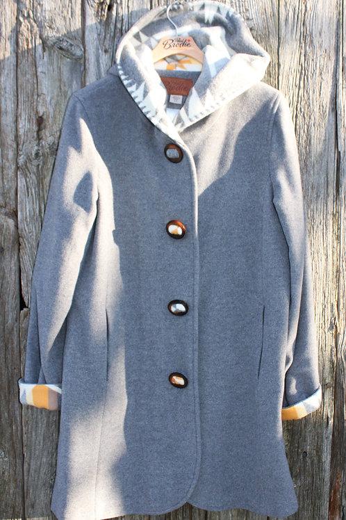 Wool Hooded Duffle Coat - Grey Wool with Arrowhead Design Wool