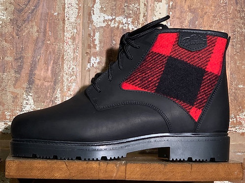 The Woodsman - Black Leather with Black & Red Check Wool Panel