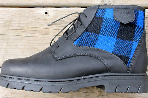The Woodsman - Black Leather with Black & Blue Check Wool Panel