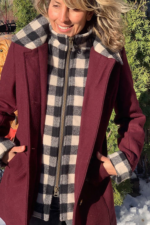 Journeywoman - Burgundy Wool with Black & White Check Wool