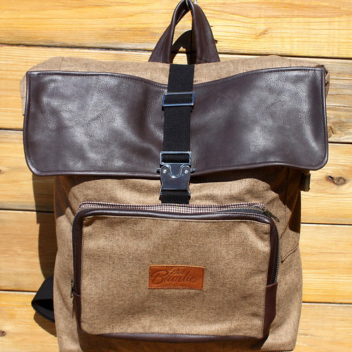 Large Tweed Wool Backpack with Shearling Wool Padded Straps