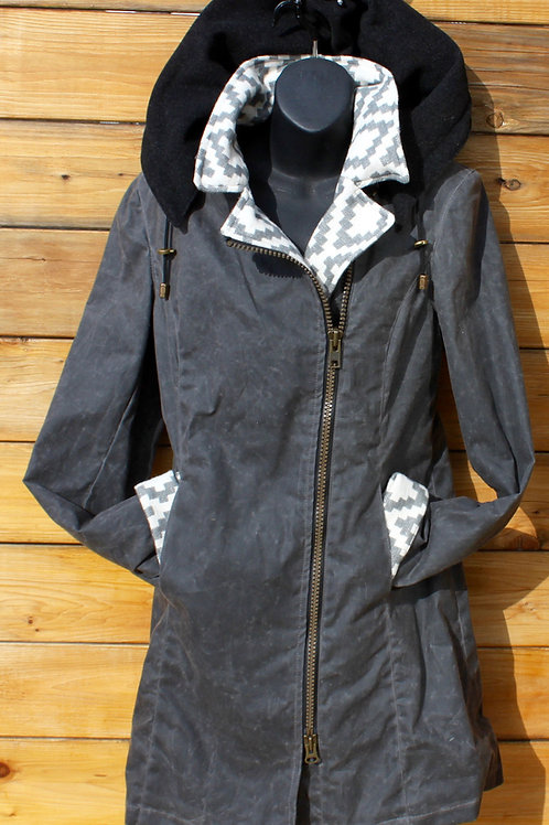 Montreal Jacket - Grey Wax with Diamond Cotton / Wool Hood