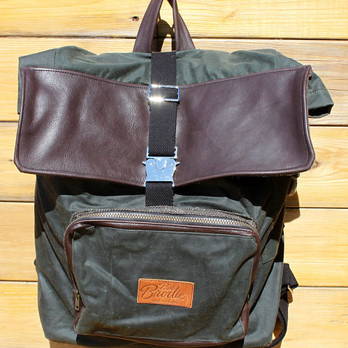 Large Green Wax Cotton Backpack with Shearling Wool Padded Straps