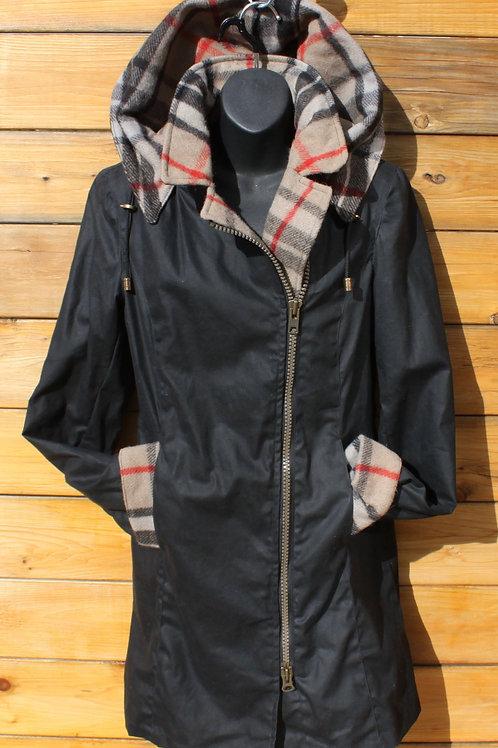 Montreal Jacket - Black Wax with Burberry Tartan Wool