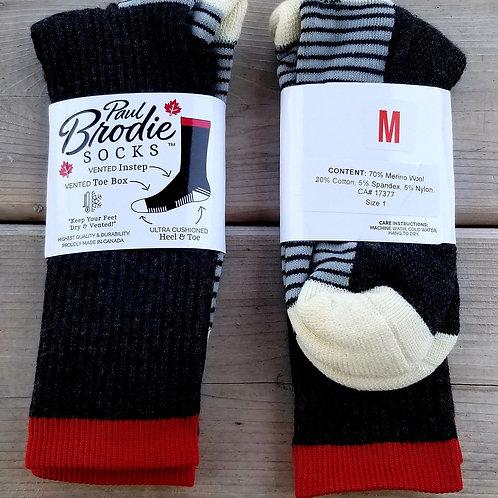 Brodie Merino Wool Socks -  Grey - Crew Length - M