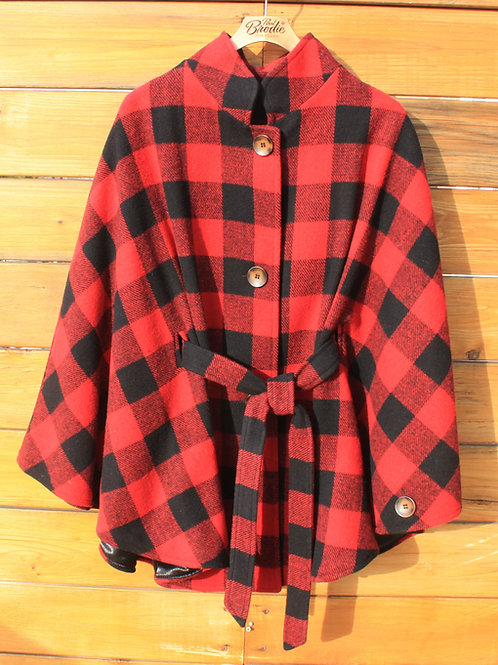 Cottage Cape - Red & Black Check Wool