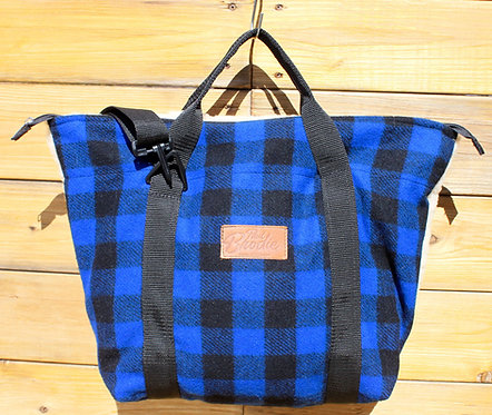 Blue & Black Check Wool Mid Size Tote with Shearling Wool Back