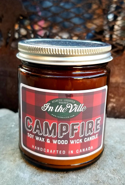 Soy Wax Campfire Scented Candle w Wood Wick