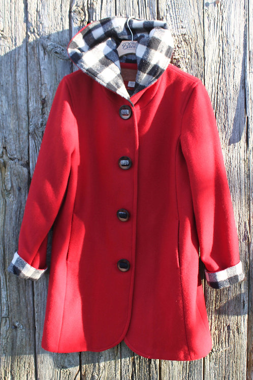 Wool Hooded Duffle Coat - Red Wool with Black & White Check Wool