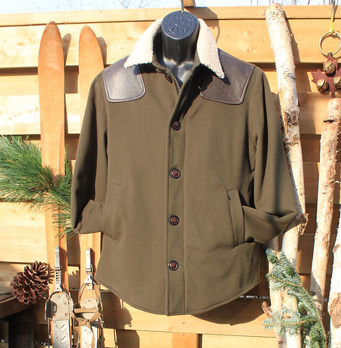 Scout Jacket - Olive Wool & Cashmere w Wool Collar and Leather Shoulder Patches