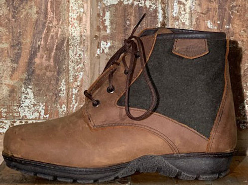 The Kelly - Old West Brown Leather with Olive Wool Panel