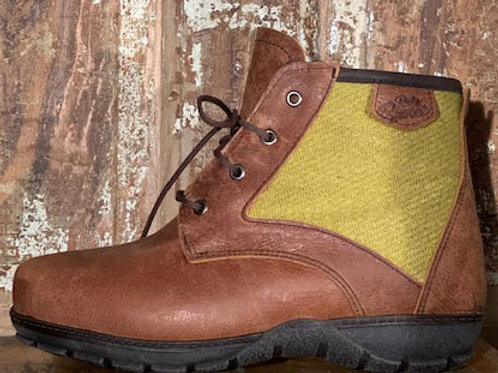 The Kelly - Old West Brown Leather with Lime Harris Tweed Panel