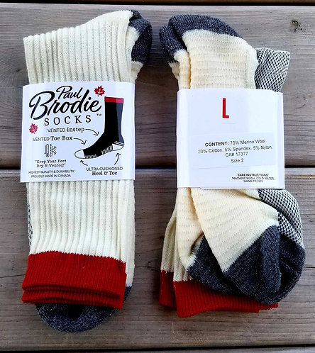 Brodie Merino Wool Socks - Ivory & Grey - Crew Length - L
