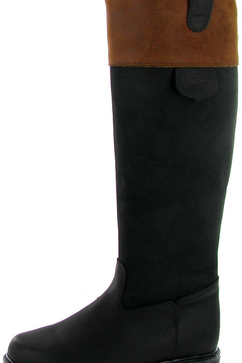 Tall Pull On - Black Leather Boot with Brown Cuff