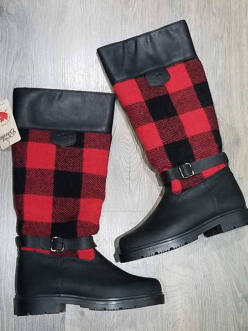 Tall Pull On w Buckle - Black with Black & Red Check Wool