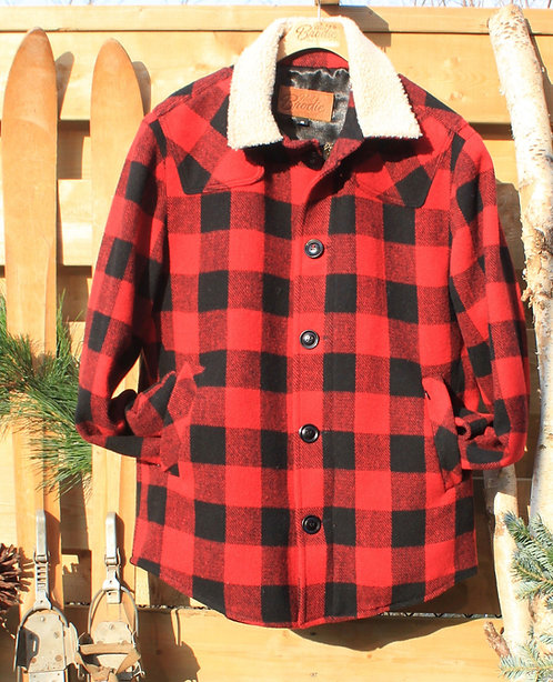 Scout Jacket - Red & Black Check Wool with Wool Collar