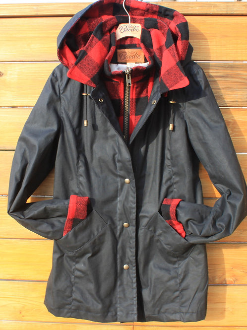 Journeywoman - Black Wax with Red & Black Check Wool