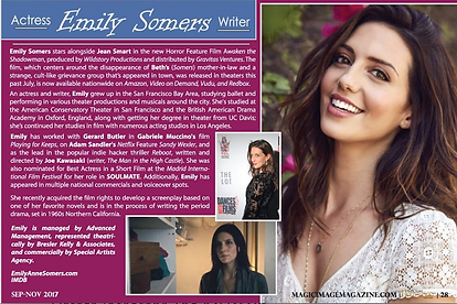 Feature on actress Emily Somers for Hollywood Image Magazine. .