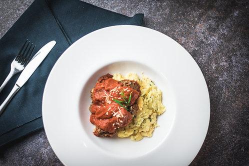 Italian Beef & Herb Meatball Bake
