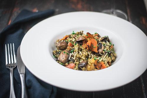 Mixed mushroom, Pumpkin & Saffron Rissoto