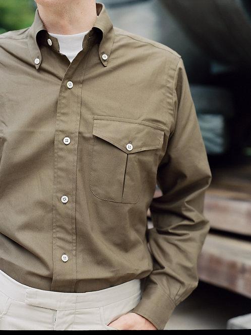Khaki Green Oxford Flap & Pleat Pocket - Button Down Shirt