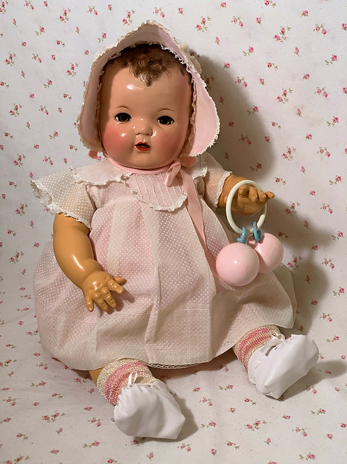"""RARE Vintage Effanbee 20"""" Dy-Dee Lou Pink Dotted Swiss Dress Set"""