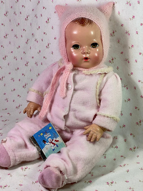 "Vintage Effanbee 20"" Dy-Dee Doll Lou Eiderdown PINK Snow Suit Set -- Kitty Kat"