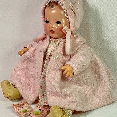 "Vintage 1940s Original Effanbee 15"" Dy-Dee Jane Baby Pink Eiderdown Coat Set"