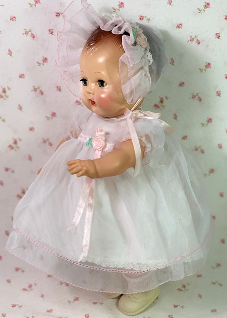 "MINT White Organdy Dress Set for 13.5"" Tiny Tears Baby Doll"