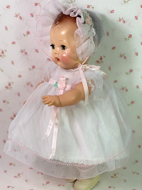 """MINT White Organdy Dress Set for 13.5"""" Tiny Tears Baby Doll"""