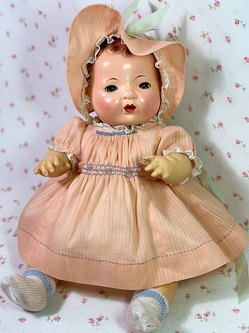 """Vintage 1930s Dimity Doll Dress and Bonnet for 15"""" Dy-Dee Doll"""