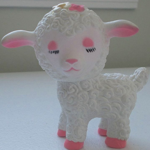 Tiny 1950's Vintage Rubber Lamb Doll Toy #3