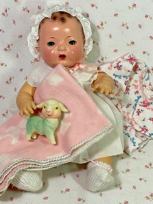 """Vintage 1930s Effanbee Blue-Eyed Brunette 15"""" Dy-Dee Doll"""