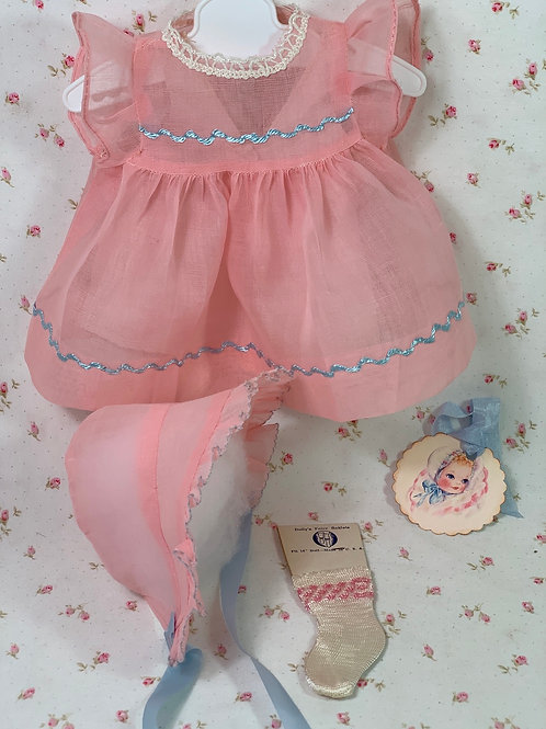 "Vintage 1940's Pink Organdy Party Dress for 15"" to 16"" Dolls"