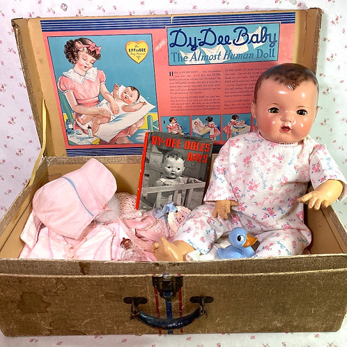 "1930s Effanbee 20"" Dy-Dee Lou Mold 1 Baby Doll in Box Original Layette"