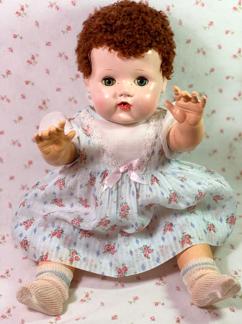 """Vintage 1950s American Character 18"""" Tiny Tears Baby Blue Print Dress"""