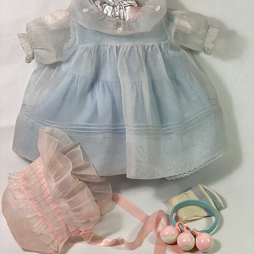 1940s Original Tagged Effanbee Dy-Dee Lou Dress Set -- Blue and Pink Organdy