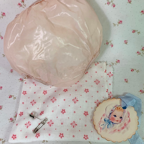 """Vintage 1950s PINK Rubber Pants and Print Diaper for 15"""" to 16"""" Dolls"""