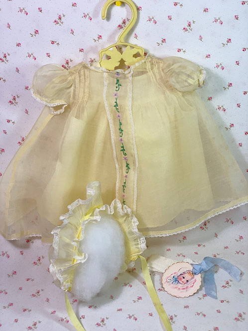"Vintage 1940s Yellow Organdy Dress Set for 20"" Effanbee Dy-Dee Lou"