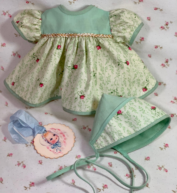 """Vintage 1950's Rose Bud Cotton Dress and Bonnet for 11"""" Baby Doll"""