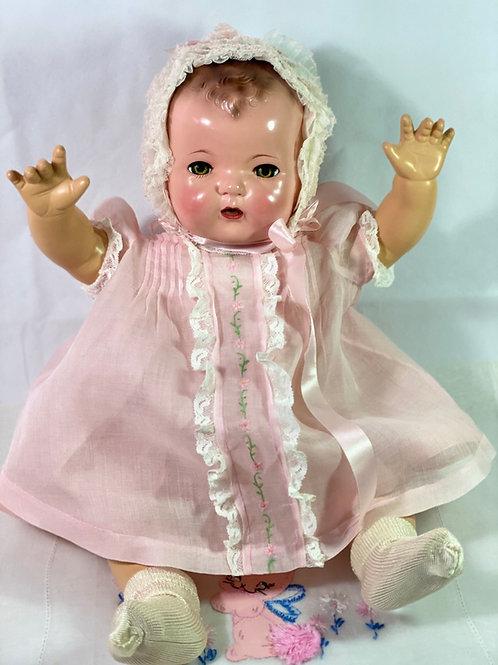 """1940s Original Pattern Effanbee 20"""" Dy-Dee Lou Dress Set"""