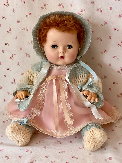 "1940s Original Effanbee 15"" Dy-Dee Doll Sweater, Bonnet and Booties Set"